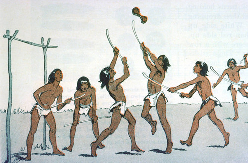 Illustration of Native Americans playing game with sticks and ball
