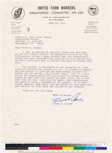 [signed letter to Virna M. Canson from Cesar E. Chavez]