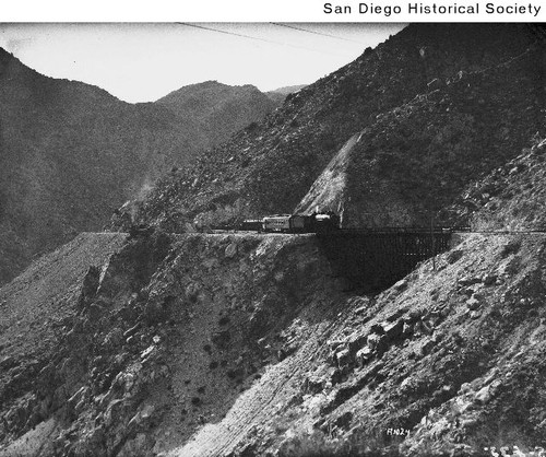 San Diego-Arizona Eastern Railroad train crossing a trestle in Carrizo Gorge