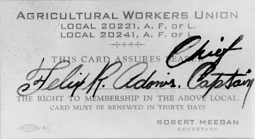 Agricultural Workers Union membership card