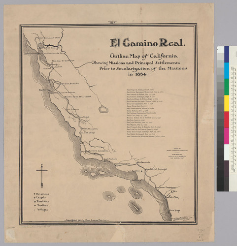 Calisphere: El Camino Real : outline map of California showing ... on