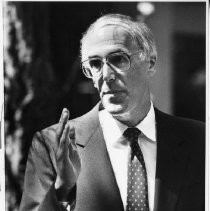 Bill Honig campaigning. He was elected Superintendent of Public Instruction in 1982 and served three terms