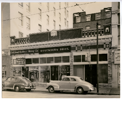 North side of 12th Street between Webster and Franklin Streets, May 1949