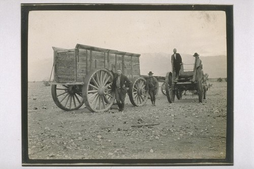 One of the wagons used to half Borax in the days of the 20 mule teams. This wagon weighed 7 tons and was loaded with 20 tons of Borax. The tires on the wheels were 10 inches