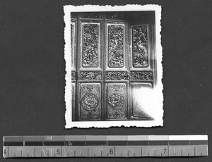 Intricately carved doors on temple guildhall, Tengchong, Yunnan, China, ca.1912