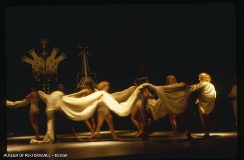 "Female dancers in a performance of Anna Halprin's ""In the Mountain On the Mountain"""
