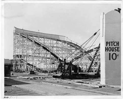 Remnants of a roller coaster from Ocean Park Pier at the construction site of Pacific Ocean Park, Santa Monica, Calif