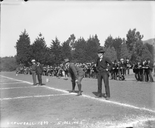 "Game officials, ""U.C. football, 1899, 'sidelines',"" University of California at Berkeley. [negative]"
