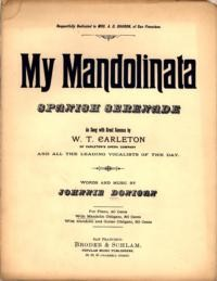 My mandolinata : Spanish serenade / words and music by Johnnie Donigan