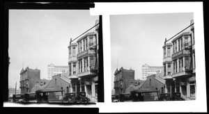 View of the corner of New High Street and Temple Street in Los Angeles, ca.1930