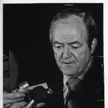 Hubert Humphrey, longtime U.S. Senator from Minnesota, 38th Vice President (under LBJ, 1965-1969), Democratic nominee for President, 1968. Here, he holds a news conference in the Firehouse Restaurant Courtyard