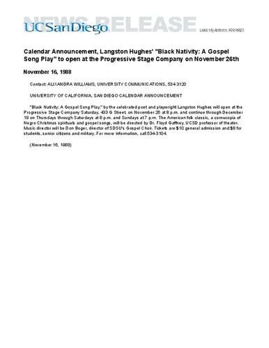 Calisphere: Calendar Announcement, Langston Hughes'
