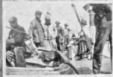Bill Smith and other men and women on a large boat at Bodega Bay, circa 1890s