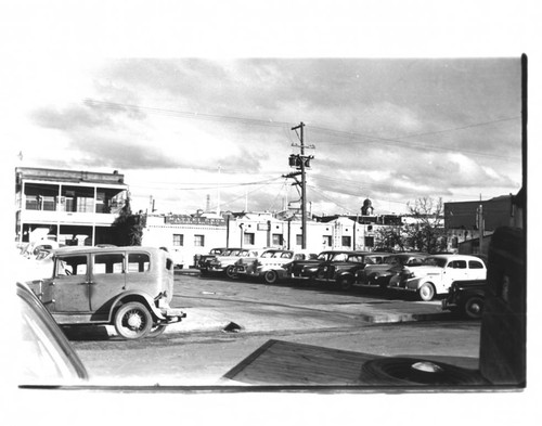 Parking lot on Keller Street behind Mattei Brothers, Petaluma, California, about 1937
