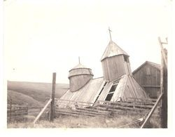 Chapel at Ft. Ross, about 1915, showing effects of 1906 San Francisco earthquake