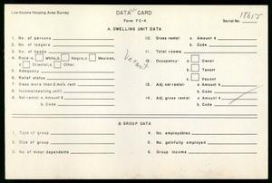 WPA Low income housing area survey data card 126, serial 18655, vacant