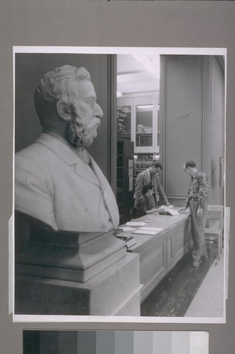 The marble bust of Hubert Howe Bancroft stands near the information desk in the main reading room of the library he founded, and which this week observes its 50th anniversary on the Berkeley campus, University of California. In addition to the library's