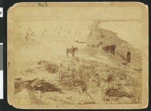 Birdseye view of a canyon at Wounded Knee, South Dakota, January 1, 1891