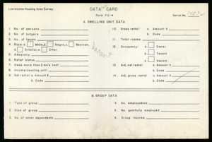 WPA Low income housing area survey data card 125, serial 14832, vacant