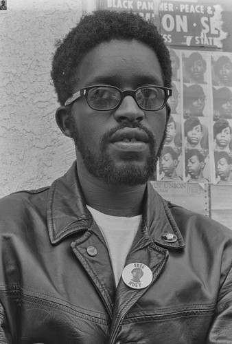 Captain Wendell Wade at National headquarters of the Black Panther Party, Oakland, CA, #69 from A Photographic Essay on The Black Panthers