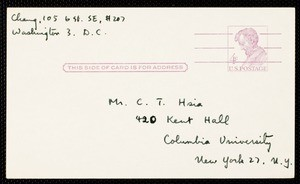 Postcard from Eileen Chang to C.T. Hsia, ca. 1963