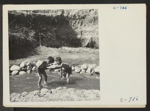 Manzanar, Calif.--Evacuee children enjoying a hot summer afternoon in the mountain creek which flows through the desert on the border of this War Relocation Authority center. Photographer: Lange, Dorothea Manzanar, California