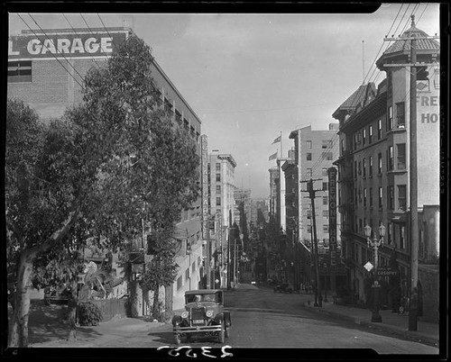 View down Olive Street in the area of Bunker Hill, Los Angeles, 1928