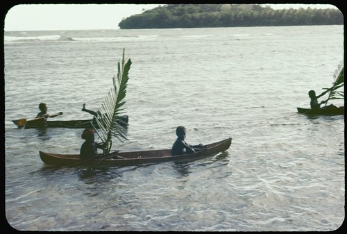 Children in canoes with large leaves