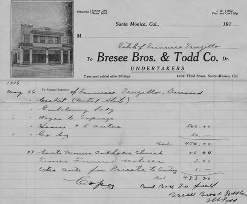Receipt for Francisco Trujio's funeral in 1916