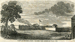 View of Sutter's Fort - raising the American Flag, 1845