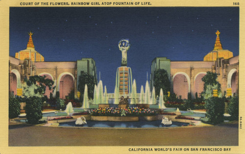 Court of the Flowers, Rainbow Girl atop Fountain of Life, California World's Fair on San Francisco Bay