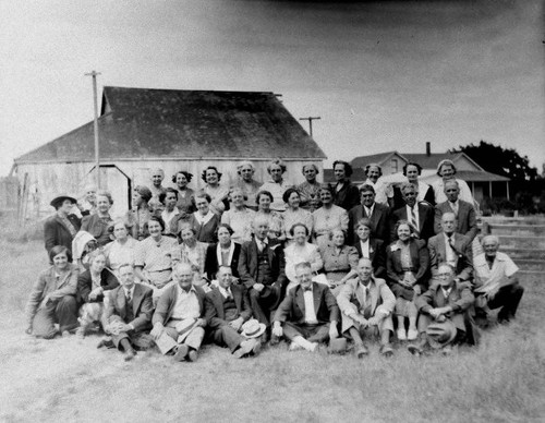 Large group of adults posing for a photo outdoors--possibly the Borba family or Borba family reunion