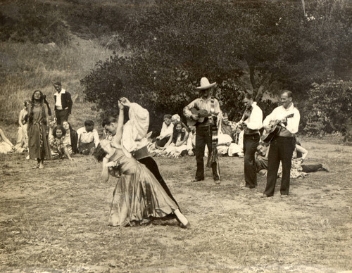 Actors in a scene from the 1931 Mountain Play, Trail of the Padres, on Mount Tamalpais [photograph]
