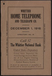 Whittier Home Telephone Directory, No. 31