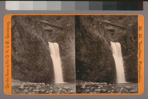 (Multnomah Falls Or. [Oregon] (Lower half); on verso.) Photographer's series: On the Line of the O. R. & N. Company