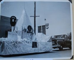 Three photos of the Sebastopol Lions Club float in the shape of a pyramid and a parking meter in the Apple Blossom Parade, about 1955 on South Main Street (Sebastopol Lions Club scrapbook photo)