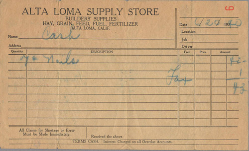 Alta Loma Supply Store receipt for nails