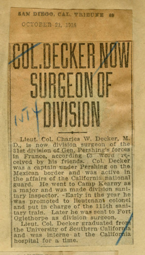 Colonel Decker now surgeon of division