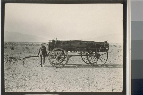 "Death Valley. In 1876 Government Surveyors found this old wagon in the valley north of ""Emigrant Wash"". Since then this place has been marked on the maps as ""Last Wagon"". It was found 52 years ago but to this day nothing definite has been found as to how it came to be in Death Valley"