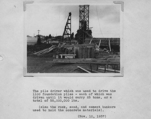 Calisphere: Pile driver which was used to drive the foundation piles