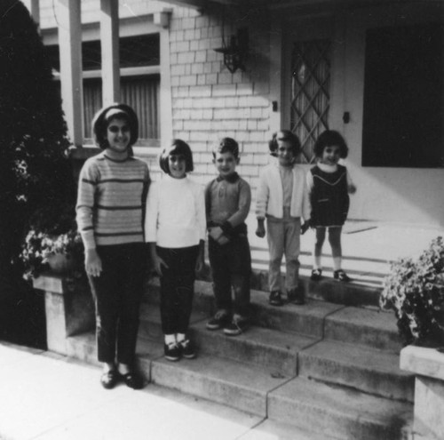 Armenian American children on steps