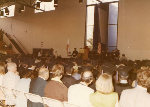 A Portion of the Audience and the Platform Guests at the Commencement ceremony (Color)