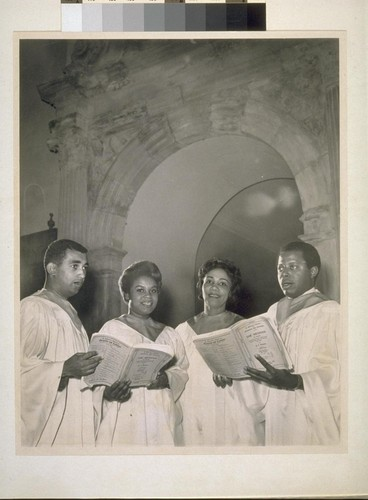 Third Baptist Choir. (Left to right) Paul Thomas, Helen Dilworth, Ann Bradford, Robert Lomax (Two photos)
