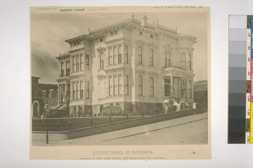 "Residence of Mrs. John Conly, 1007 Gough Street, San Francisco, Artotype No. 70, with ""S. F. News Letter,"" May 12th, 1888"