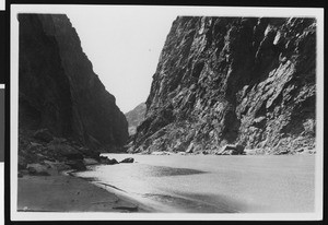Boulder Canyon, down stream from the upper dam site during Boulder Dam construction, April 24, 1921