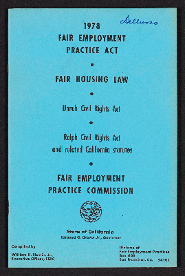 1978 Fair Employment Practice Act, Fair Housing Law, Unruh Civil Rights Act, Ralph Civil Rights Act and related California statutes