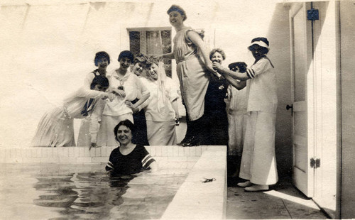 Brand family women in the swimming pool, circa 1910