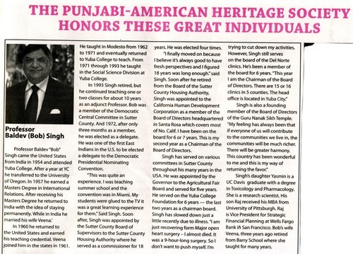 The Punjabi-American Heritage Society Honors these Great Individuals