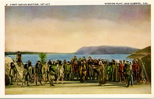"Mission Play Collectors Postcards. Card 02: ""First Indian Baptism, 1st Act."""