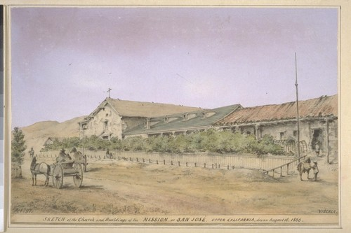 Sketch of the church and buildings of the Mission of San Jose, Upper California. F. [i.e. Founded] Ao. 1797. (cf. Vischer Pictorial p. 107, Vischer Missions no. 4)